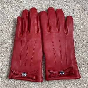 Coach Red Leather Gloves